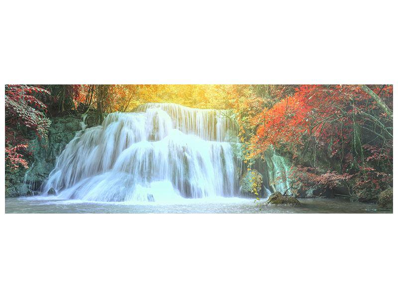 Metallic-Bild Panorama Wasserfall im Licht