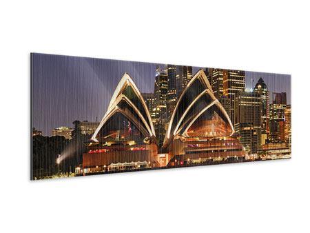 Metallic-Bild Panorama Skyline Mit dem Boot vor Sydney