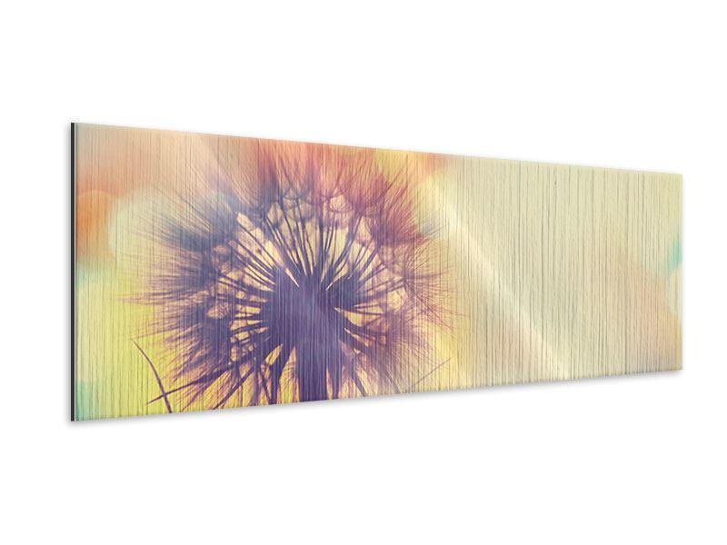 Metallic-Bild Panorama Die Pusteblume im Licht