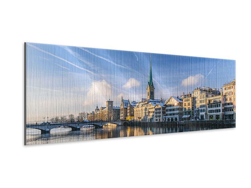 Metallic-Bild Panorama Zürich