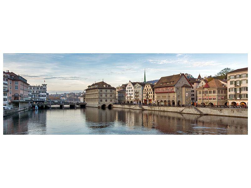 Metallic-Bild Panorama Kosmopolitisches Zürich