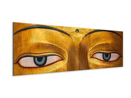 Metallic-Bild Panorama Die Augen eines Buddhas