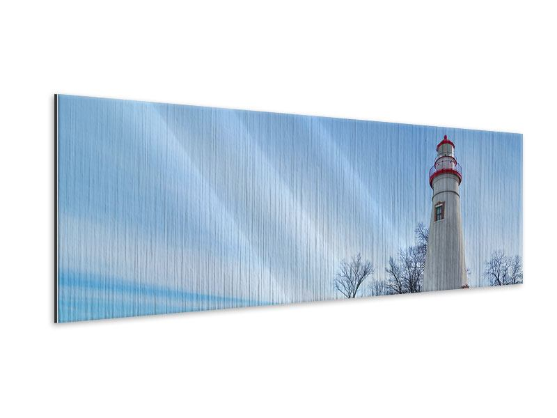 Metallic-Bild Panorama Leuchtturm im Schnee