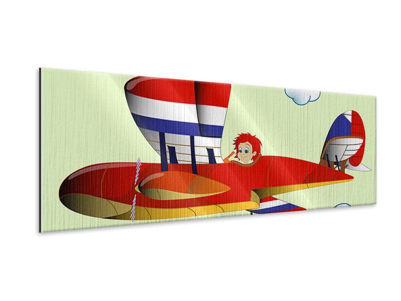 Metallic-Bild Panorama Der fliegende Junge