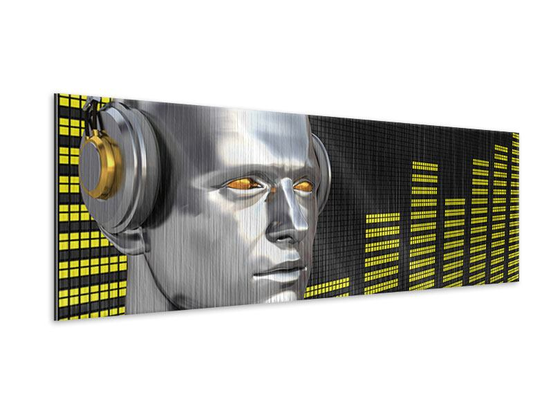 Metallic-Bild Panorama Futuristischer DJ
