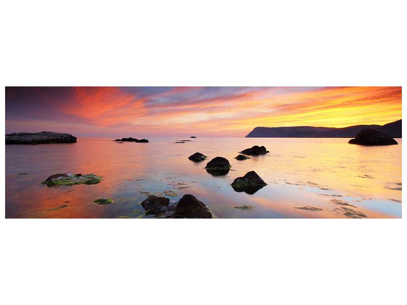Metallic-Bild Panorama Ein Sonnenuntergang am Meer