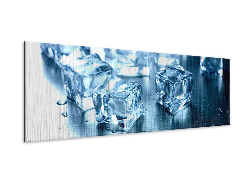 Metallic-Bild Panorama Viele Eiswürfel