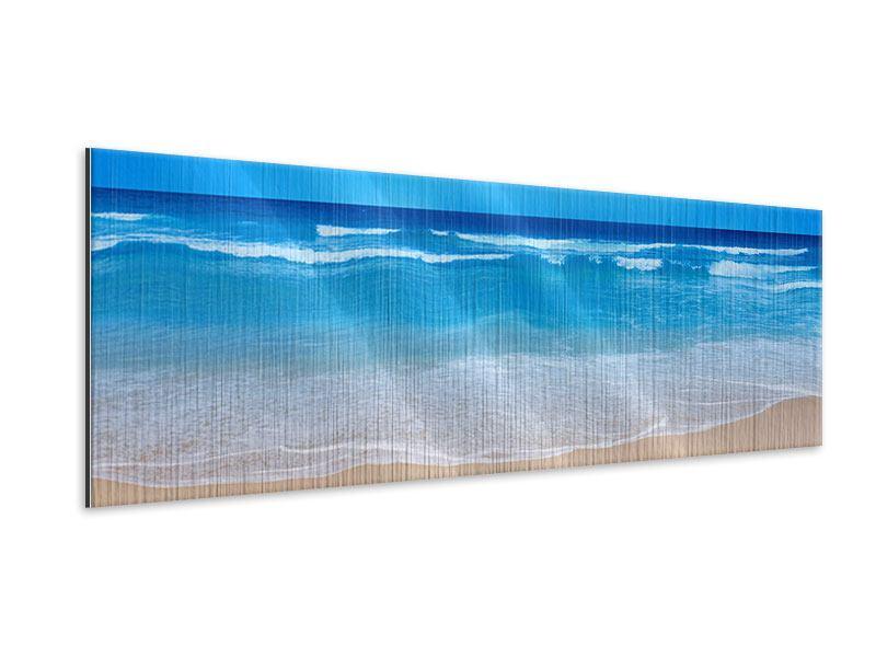 Metallic-Bild Panorama Sanfte Strandwellen