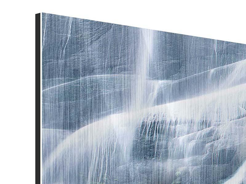 Metallic-Bild Panorama Grossartiger Wasserfall