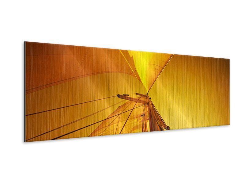 Metallic-Bild Panorama Segelboot im Sonnenuntergang