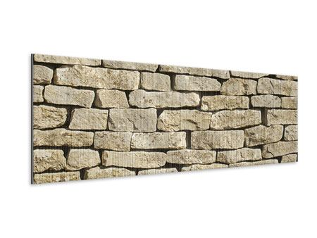 Metallic-Bild Panorama Alte Mauer