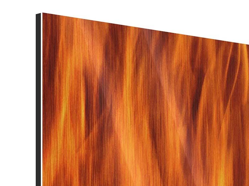 Metallic-Bild Panorama Feuer Close Up