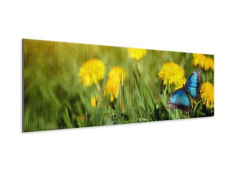 Metallic-Bild Panorama Der Löwenzahn und der Schmetterling
