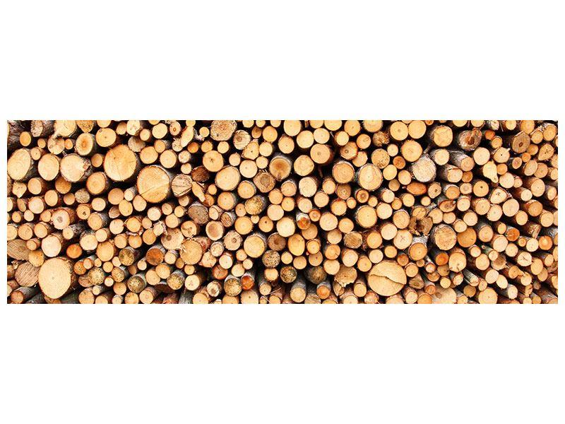 Metallic-Bild Panorama Holzstämme