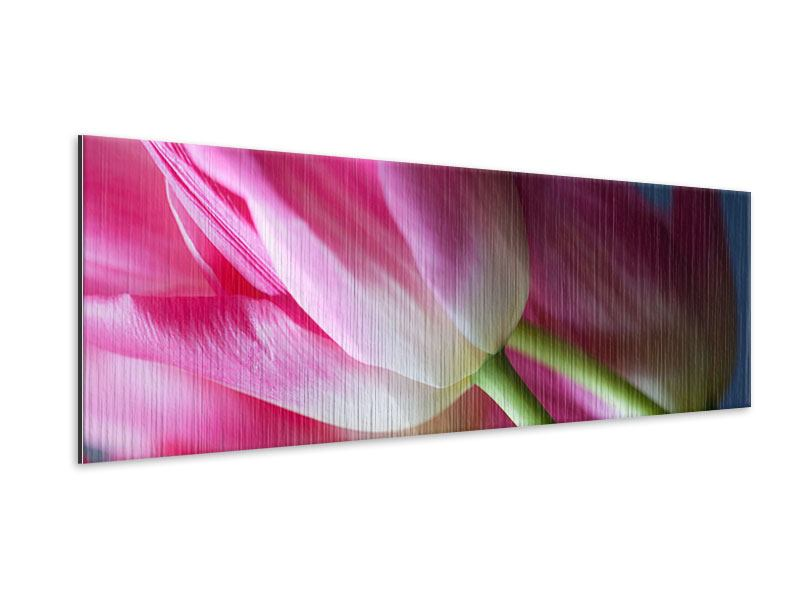 Metallic-Bild Panorama Makro Tulpen