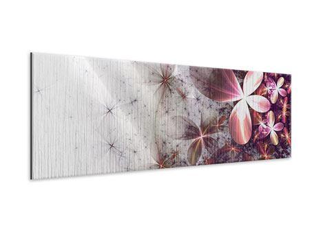 Metallic-Bild Panorama Abstrakte Blumen
