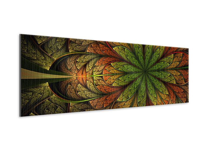 Metallic-Bild Panorama Abstraktes Blumenmuster