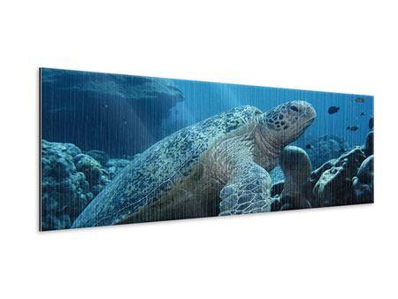 Metallic-Bild Panorama Die Meeresschildkröte