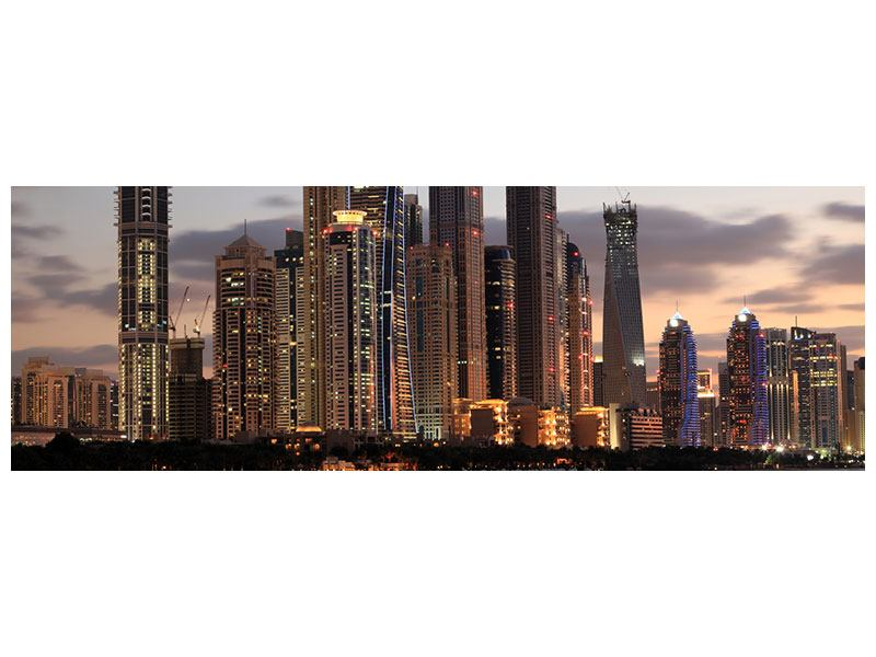 Metallic-Bild Panorama Skyline Dubai bei Sonnenuntergang