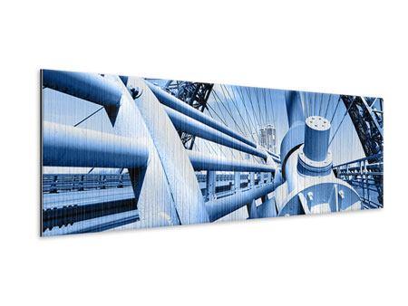 Metallic-Bild Panorama Avantgardistische Hängebrücke