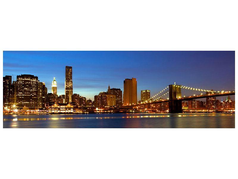 Metallic-Bild Panorama Skyline Manhattan im Lichtermeer