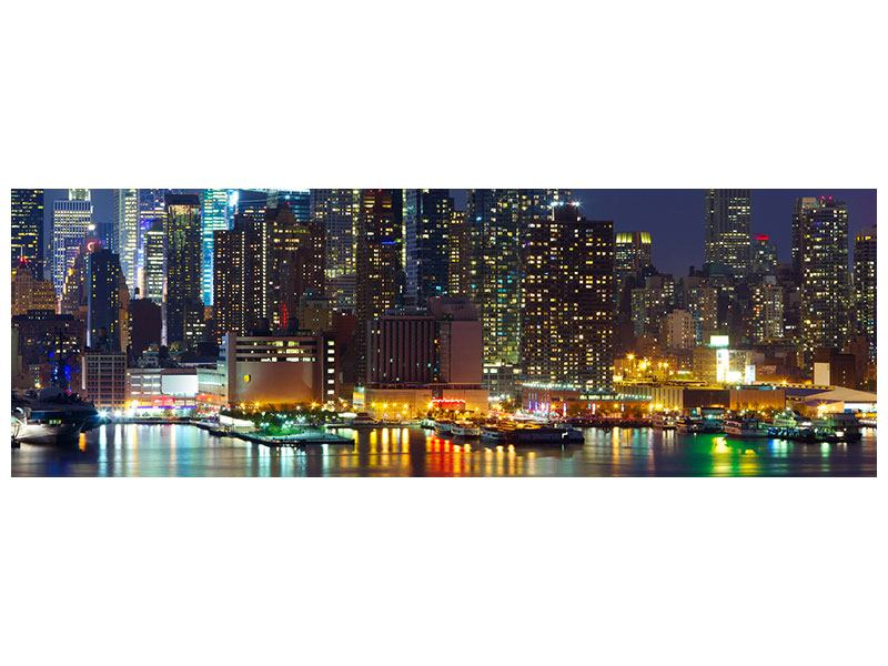 Metallic-Bild Panorama Skyline New York Midtown bei Nacht