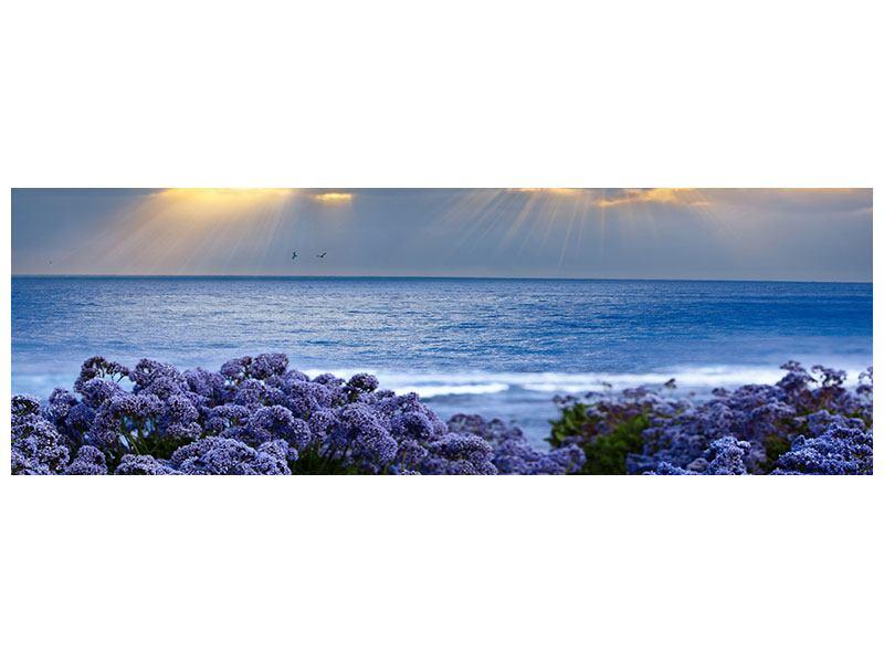 Metallic-Bild Panorama Der Lavendel und das Meer