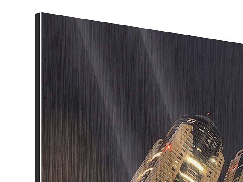 Metallic-Bild Panorama Wolkenkratzer Dubai Marina