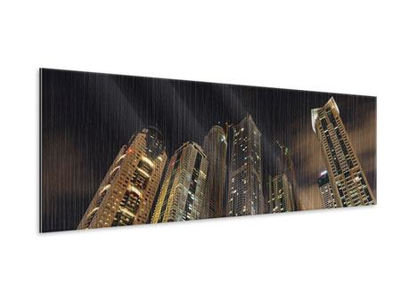 Panoramic Metallic Print Skyscrapers Dubai Marina