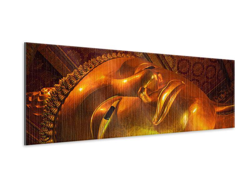 Metallic-Bild Panorama Liegender Buddha