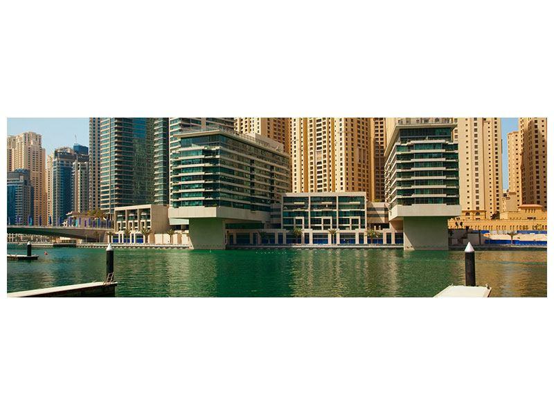 Metallic-Bild Panorama Spektakuläre Wolkenkratzer Dubai