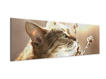 Metallic-Bild Panorama Die Katze