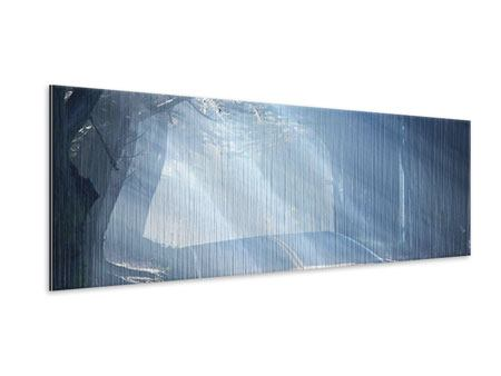 Metallic-Bild Panorama Lichtdurchflutete Baumallee