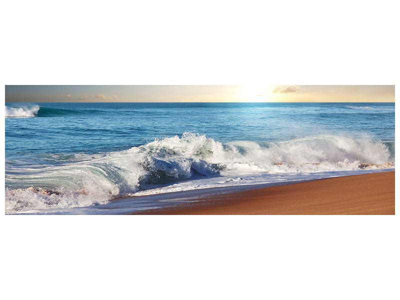 Metallic-Bild Panorama Die Wellen des Meeres