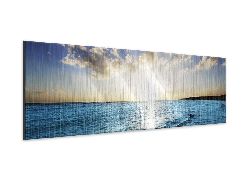 Metallic-Bild Panorama Das Meer im Sonnenaufgang