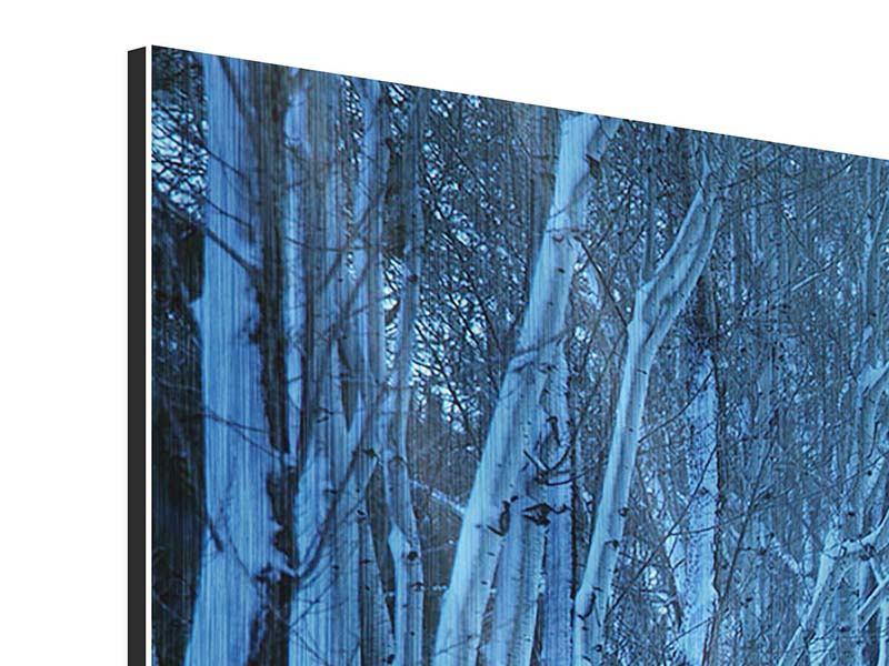 Metallic-Bild Panorama Winterbäume
