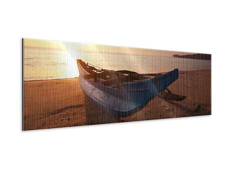Metallic-Bild Panorama Das gestrandete Boot