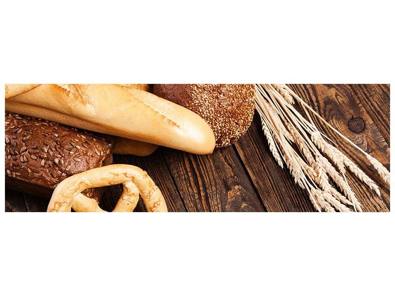 Metallic-Bild Panorama Brot und Bretzel