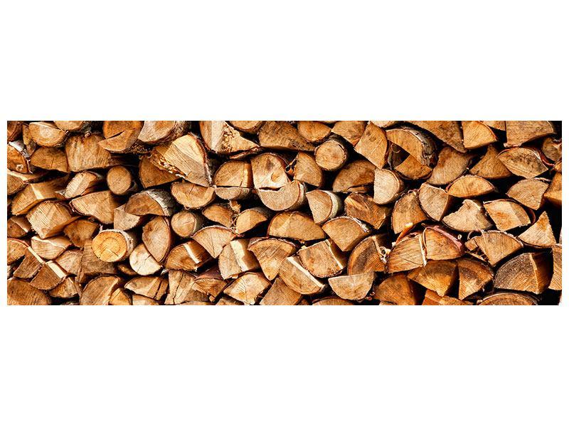 Metallic-Bild Panorama Gestapeltes Holz