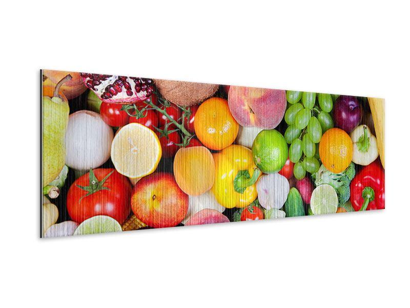 Metallic-Bild Panorama Frisches Obst