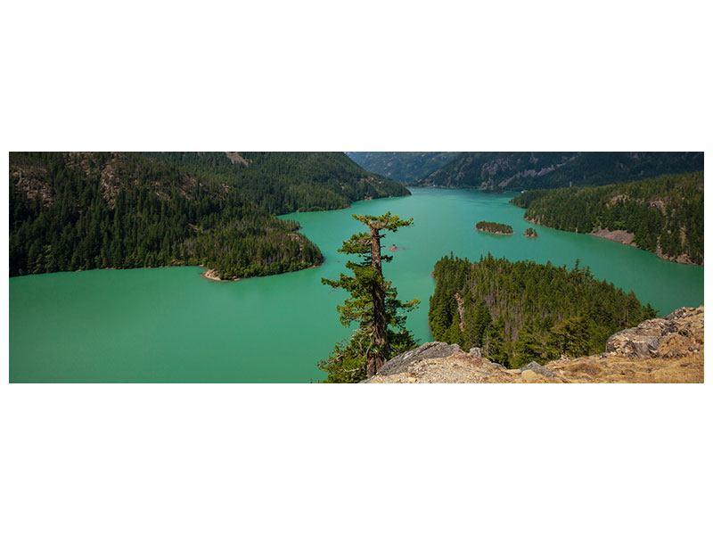 Metallic-Bild Panorama Diablo Bergsee