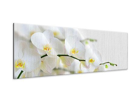 Metallic-Bild Panorama Weisse Orchideen