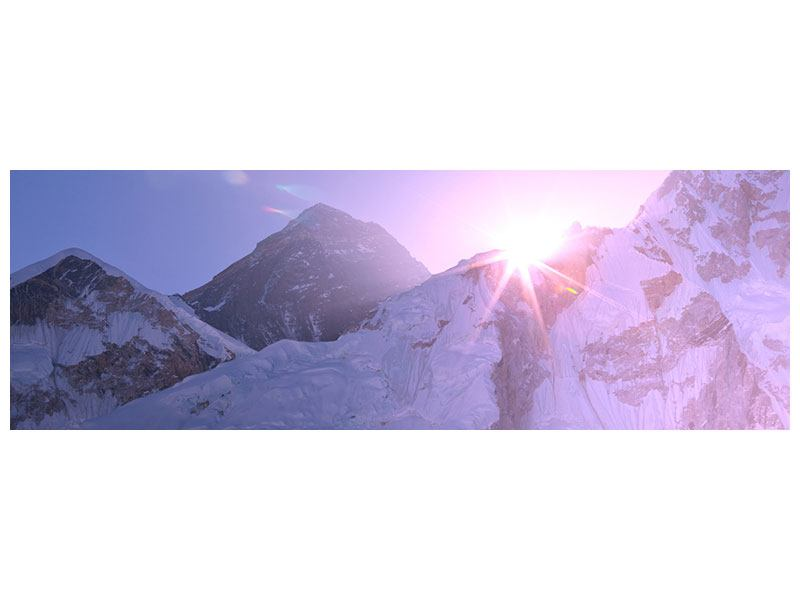 Metallic-Bild Panorama Sonnenaufgang beim Mount Everest