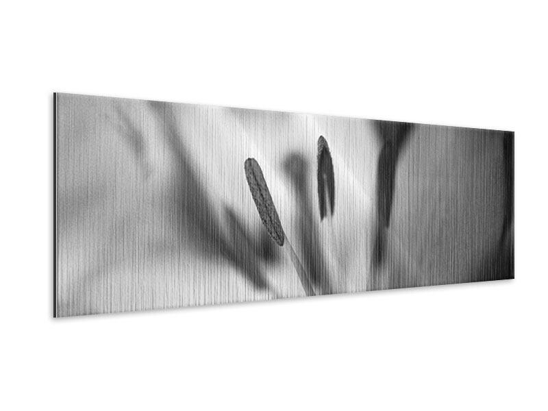Metallic-Bild Panorama Makro Lilienblatt