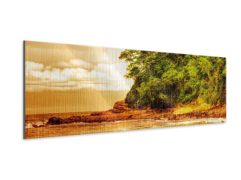 Metallic-Bild Panorama Sonnenuntergang am Ende des Waldes