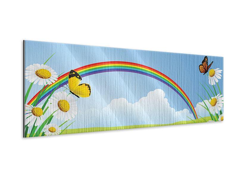 Metallic-Bild Panorama Der bunte Regenbogen