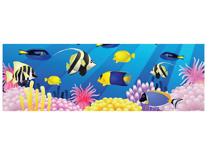 Metallic-Bild Panorama Kinder Unterwasserwelt
