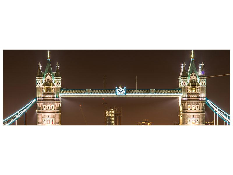 Metallic-Bild Panorama Tower Bridge bei Nacht