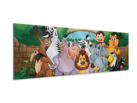 Metallic-Bild Panorama Der lustige Zoo