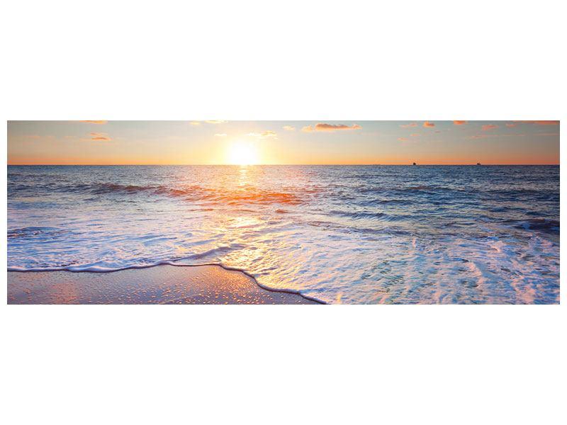 Metallic-Bild Panorama Sonnenuntergang am Horizont